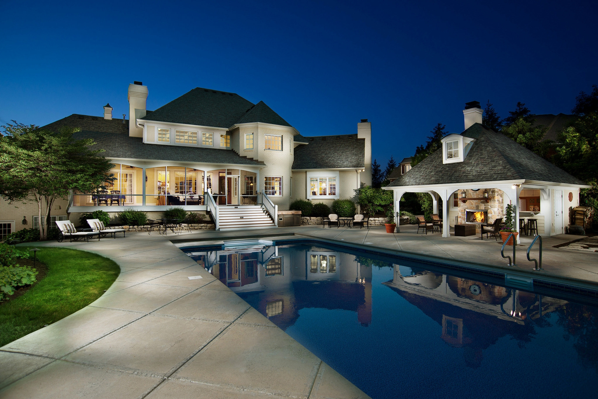 Houses Luxury House Night Pool Beautiful Home Pictures For